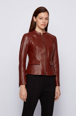 Regular-fit jacket in nappa leather with peplum hem, Brown