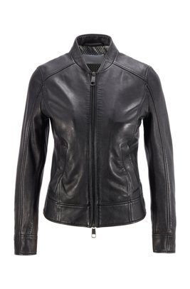 Regular-fit leather jacket with monogram-print lining, Black