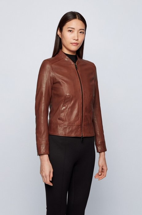 Regular-fit leather jacket with monogram-print lining, Brown