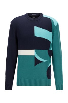 Crew-neck sweater in virgin wool with abstract logo, Dark Blue