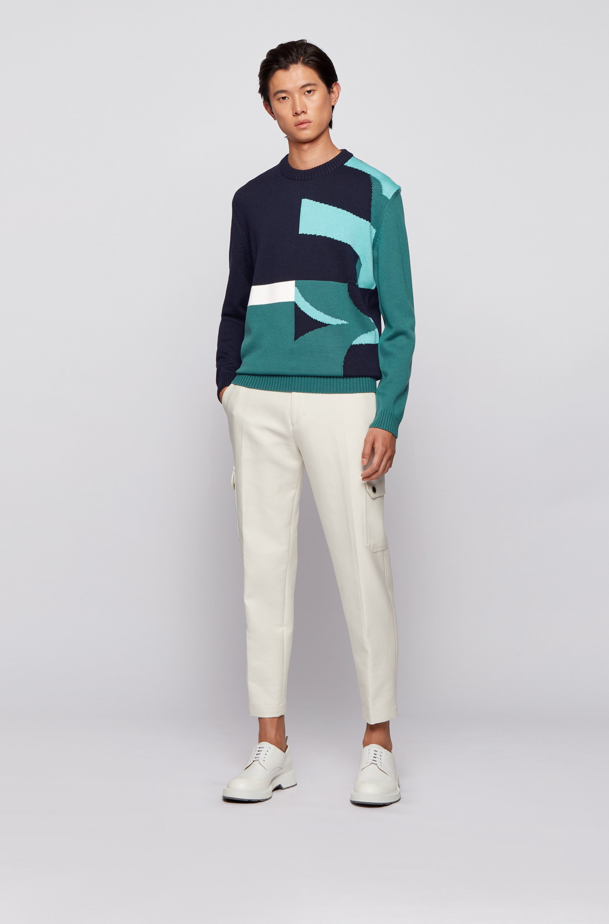 Crew-neck sweater in virgin wool with abstract logo