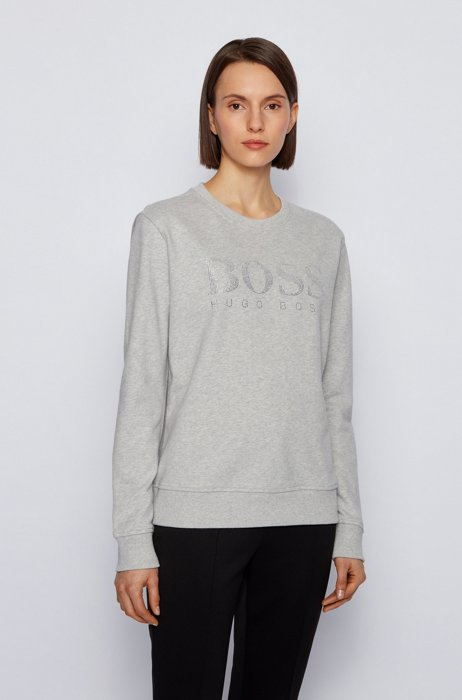 French-terry sweatshirt with crystal-filled logo, Silver