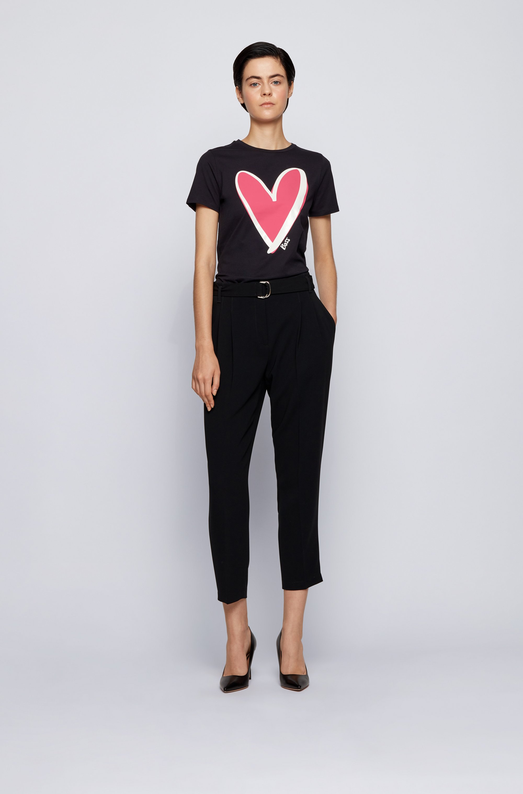 Crew-neck T-shirt in organic cotton with heart motif