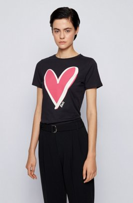 Crew-neck T-shirt in organic cotton with heart motif, Black