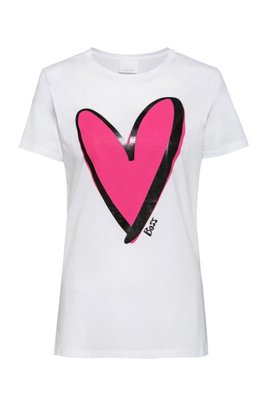 Crew-neck T-shirt in organic cotton with heart motif, White
