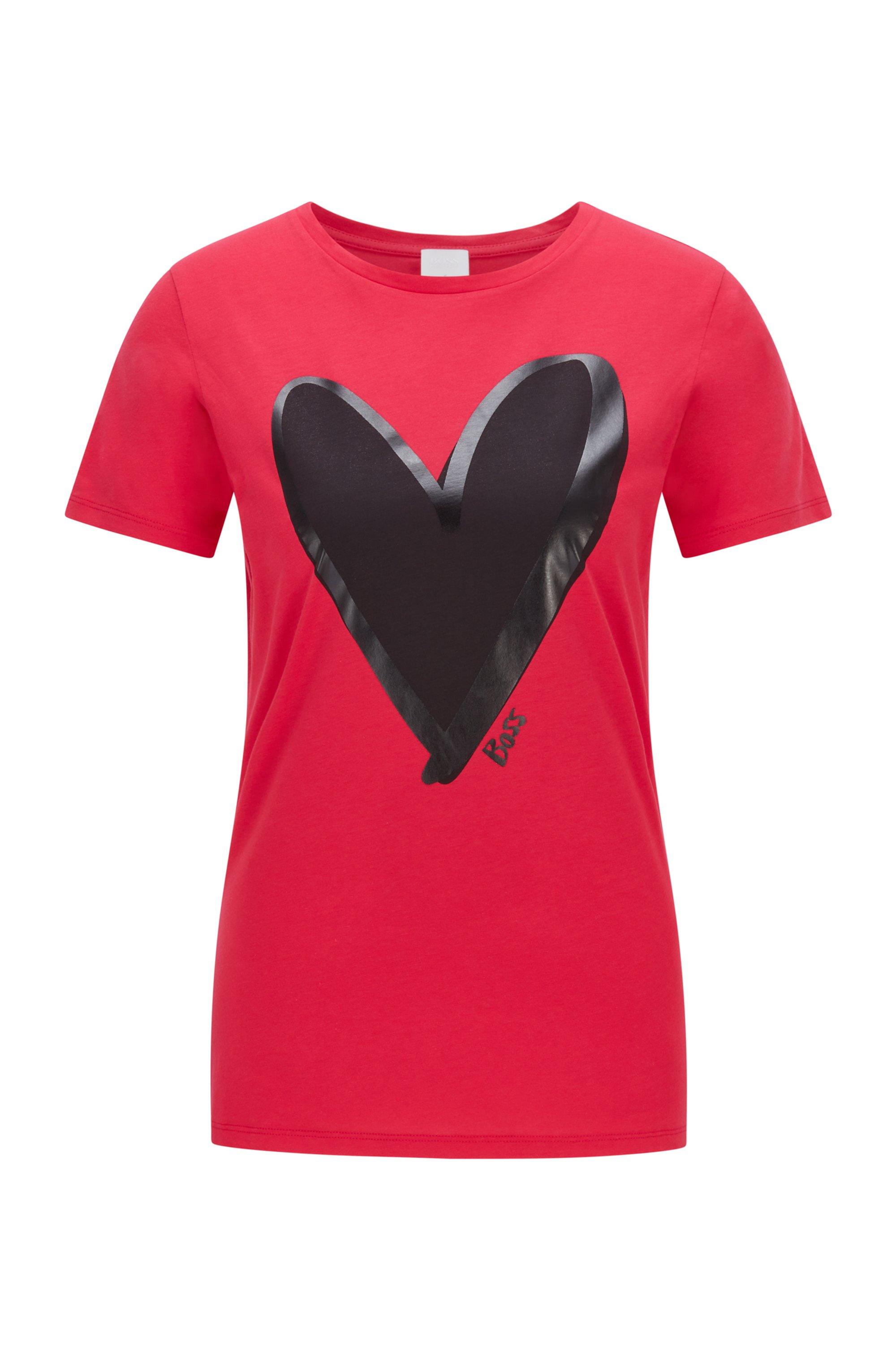 T-shirt van biologische katoen met ronde hals en hartdessin, Rood