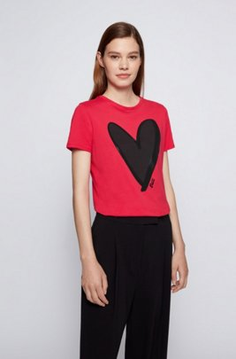 Crew-neck T-shirt in organic cotton with heart motif, Red