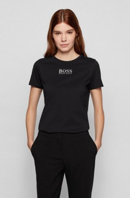 Crew-neck T-shirt in organic cotton with crystal logo, Black