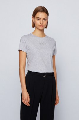 Crew-neck T-shirt in organic cotton with crystal logo, Silver