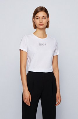 Crew-neck T-shirt in organic cotton with crystal logo, White