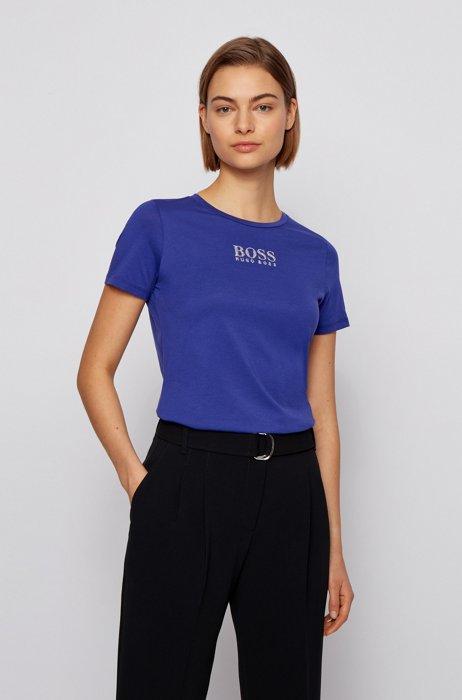 T-shirt a girocollo in cotone biologico con logo in cristallo, Viola scuro