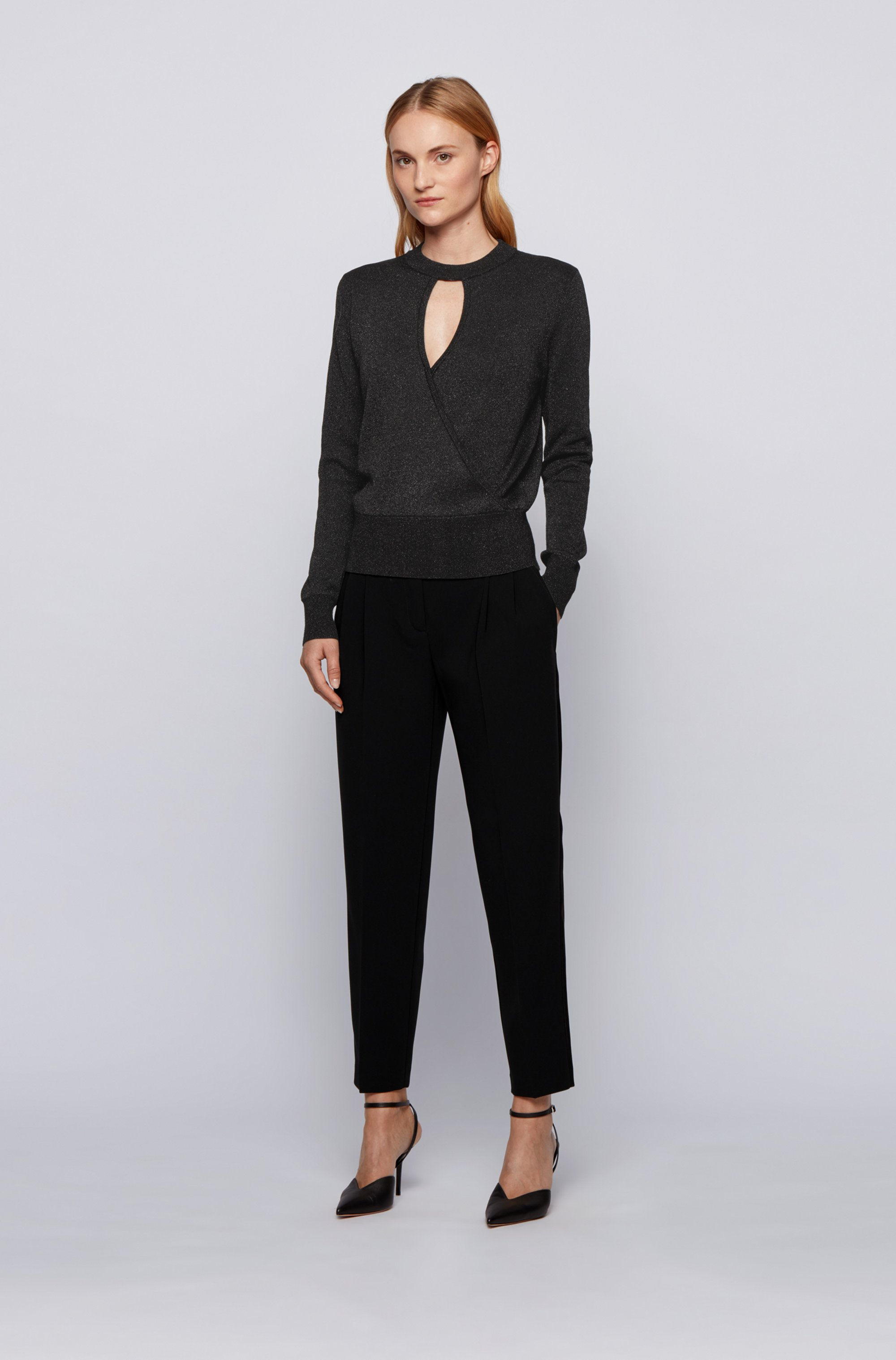 Relaxed-fit sweater in metallised stretch fabric