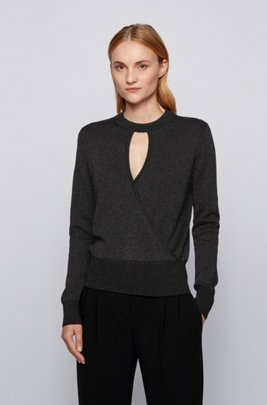 Relaxed-fit sweater in metallised stretch fabric, Black