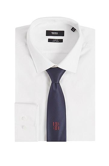 字母图案刺绣双色领带,  402_暗蓝色
