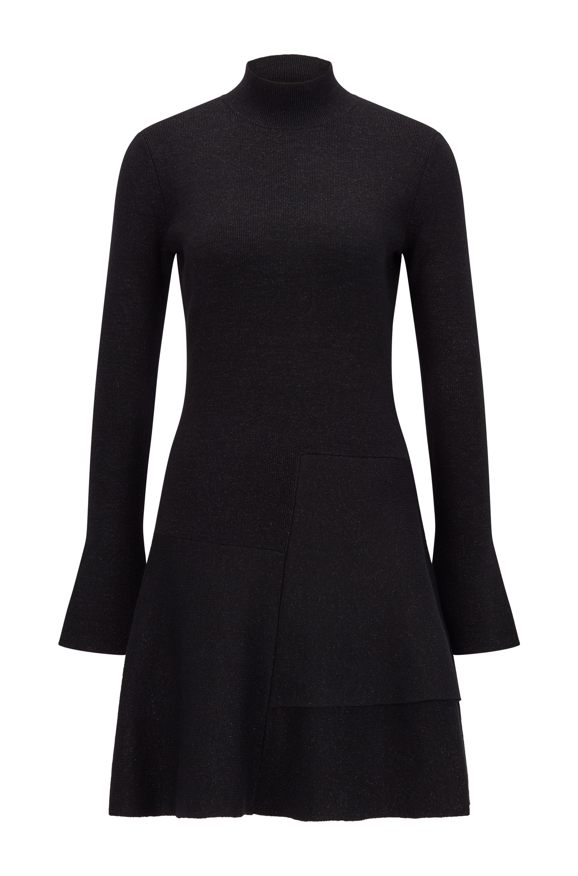 Fit-and-flare knitted dress in a sparkly wool blend, Black