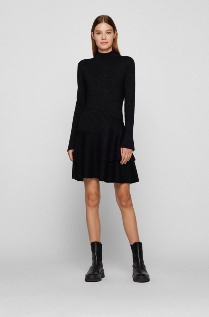 Fit-and-flare knitted dress in a sparkly wool blend