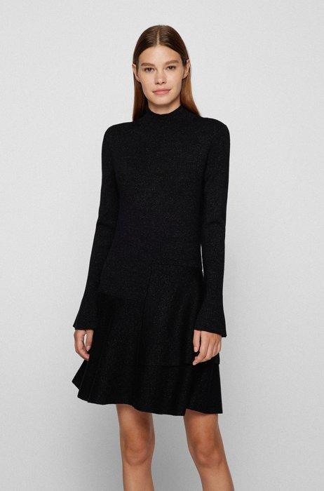 Vestito in maglia dalla linea aderente e svasata in misto lana lucido, Nero