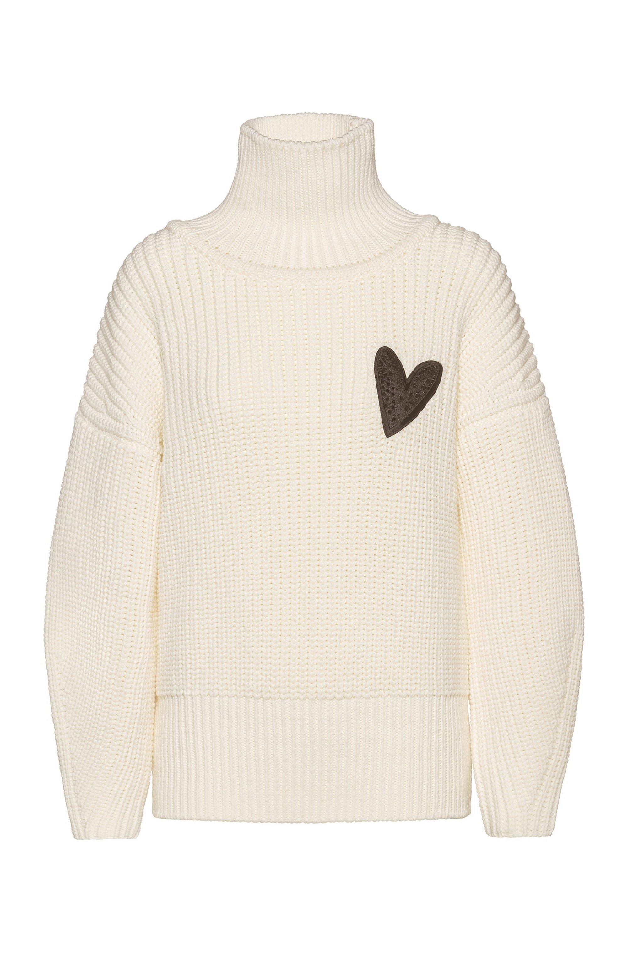 Relaxed-Fit Pullover aus Schurwolle mit Herz-Motiv, Weiß