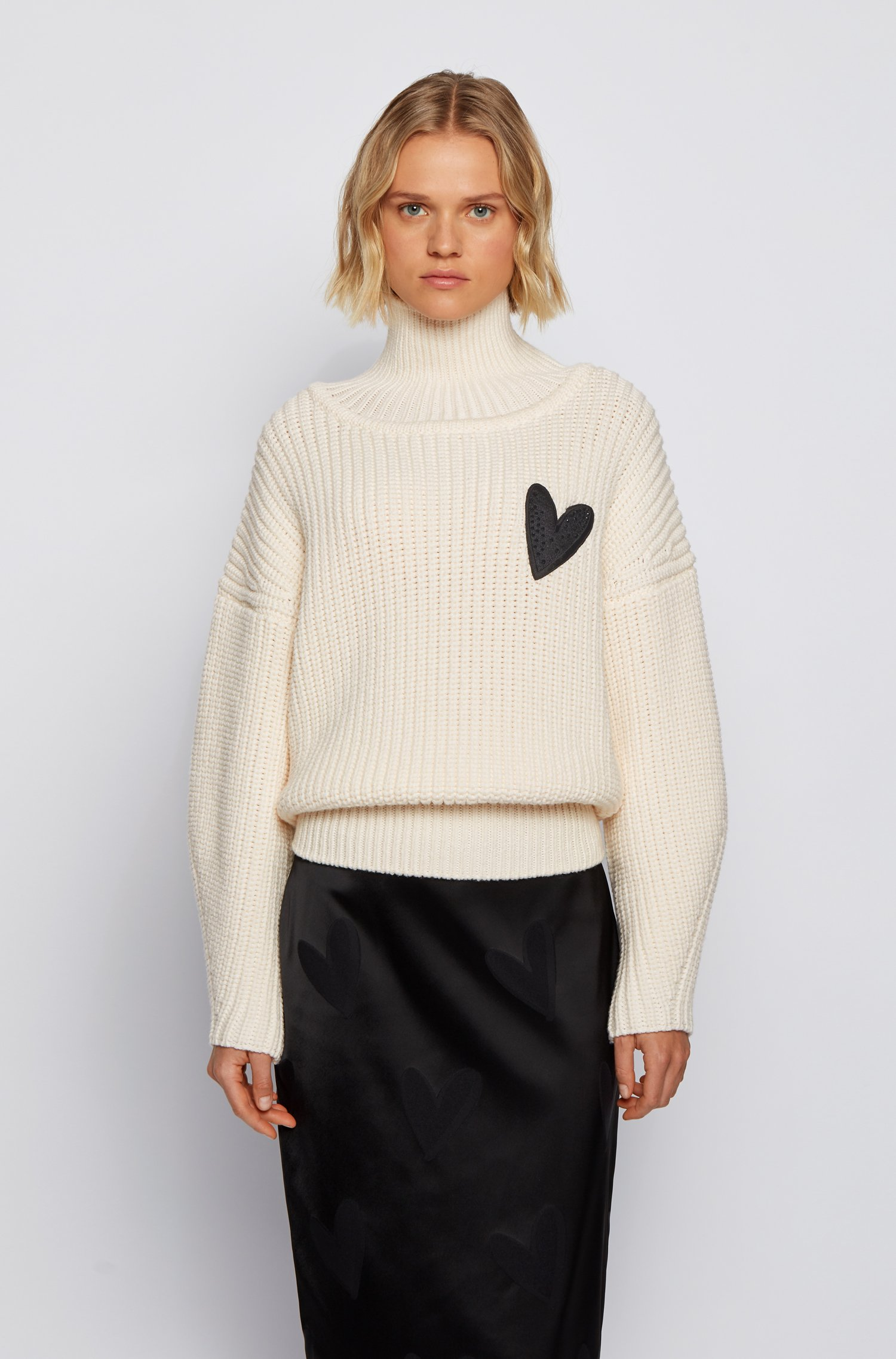Relaxed-fit sweater in virgin wool with heart motif, White