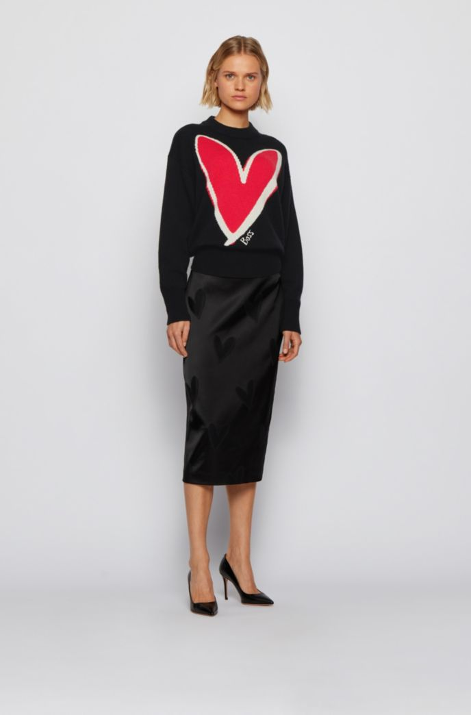 Relaxed-fit sweater in pure cashmere with heart intarsia