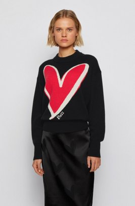 Relaxed-fit sweater in pure cashmere with heart intarsia, Patterned