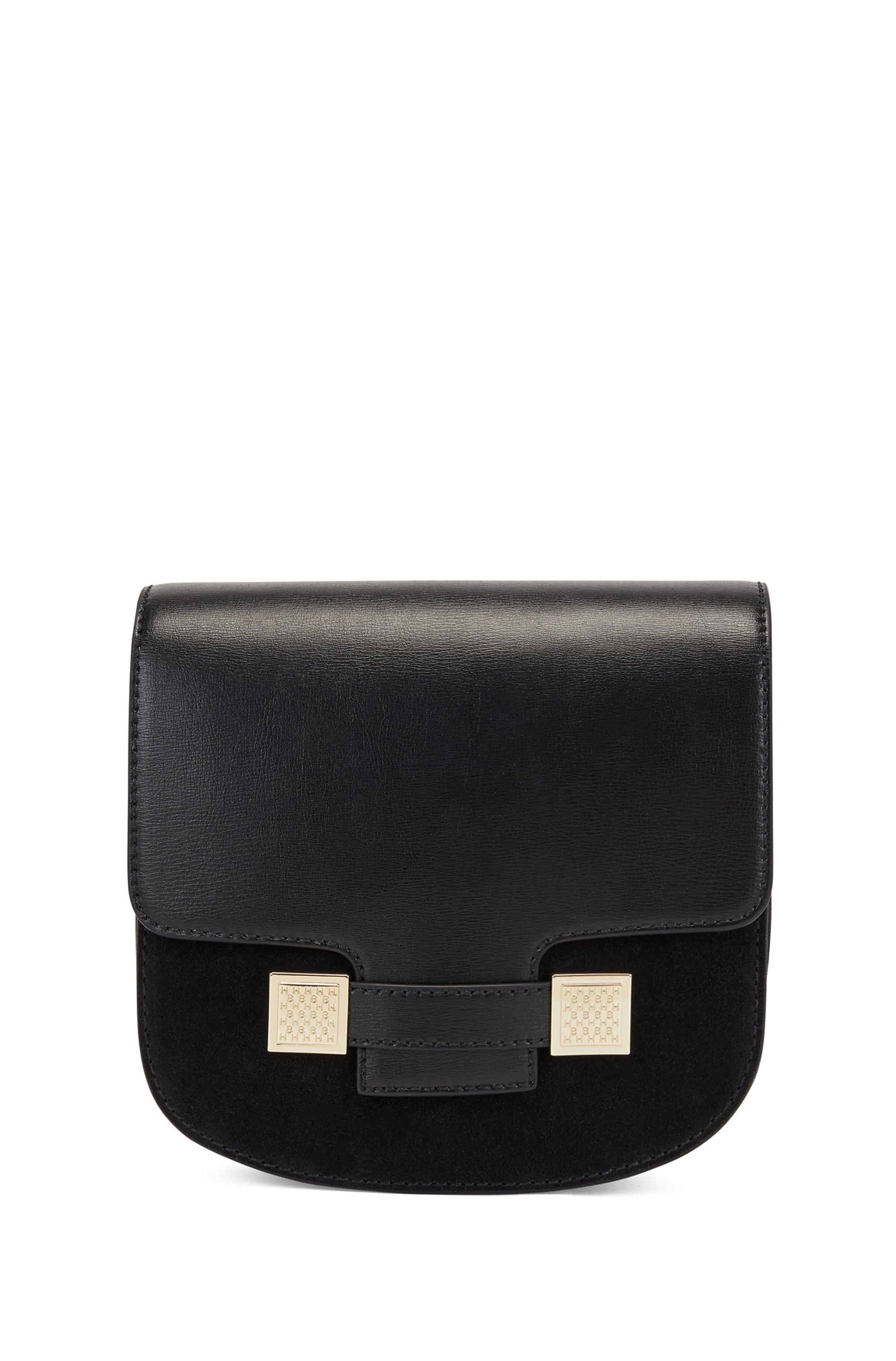 Besace en cuir et cuir suédé avec garnitures en métal à monogramme, Noir