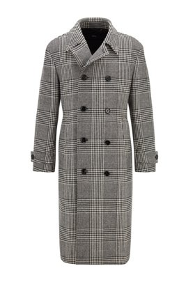 Double-breasted coat in a checked wool blend, Black