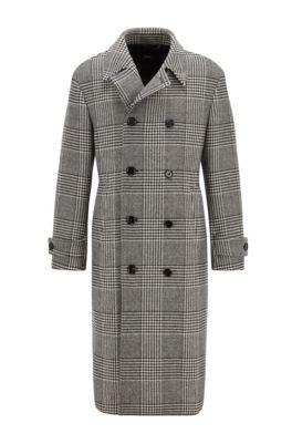 Zweireihiger Mantel aus kariertem Woll-Mix, Schwarz