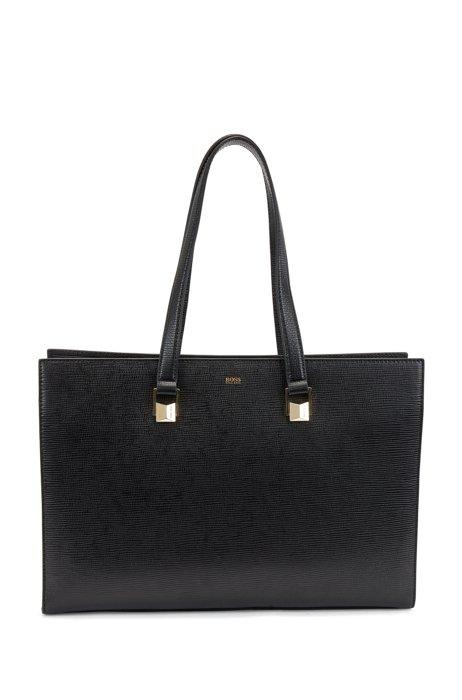 Tote Bag aus Leder mit Saffiano-Print und Laptopfach, Schwarz
