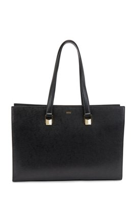 Saffiano-printed leather tote bag with laptop compartment, Black