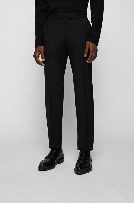 Pantalones regular fit de mezcla de lana jaspeada, Negro