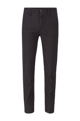 Tapered-fit trousers in micro-patterned stretch fabric, Black