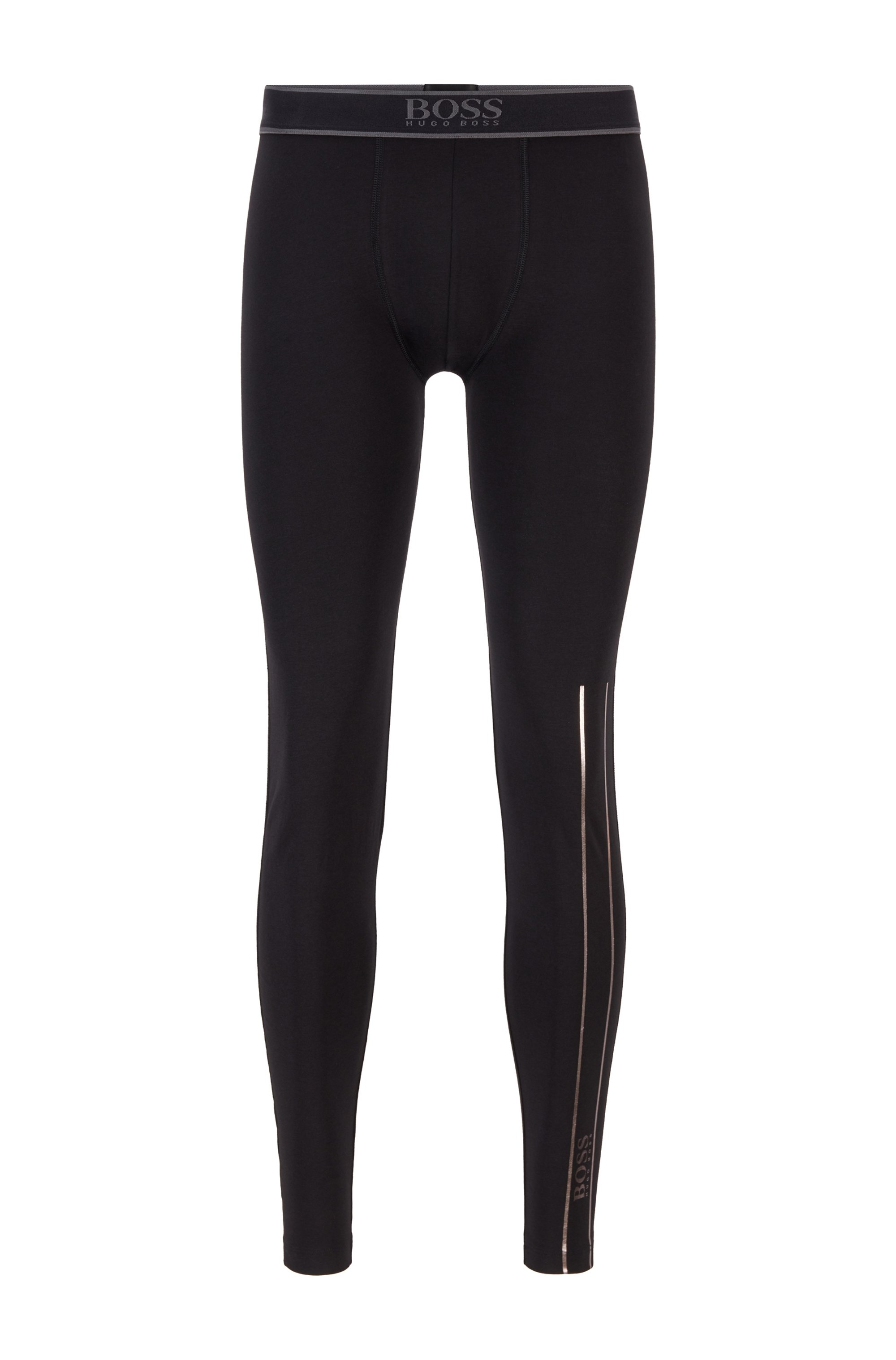 Stretch-cotton long johns with logo waistband, Black