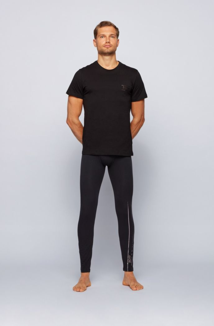Stretch-cotton long johns with logo waistband