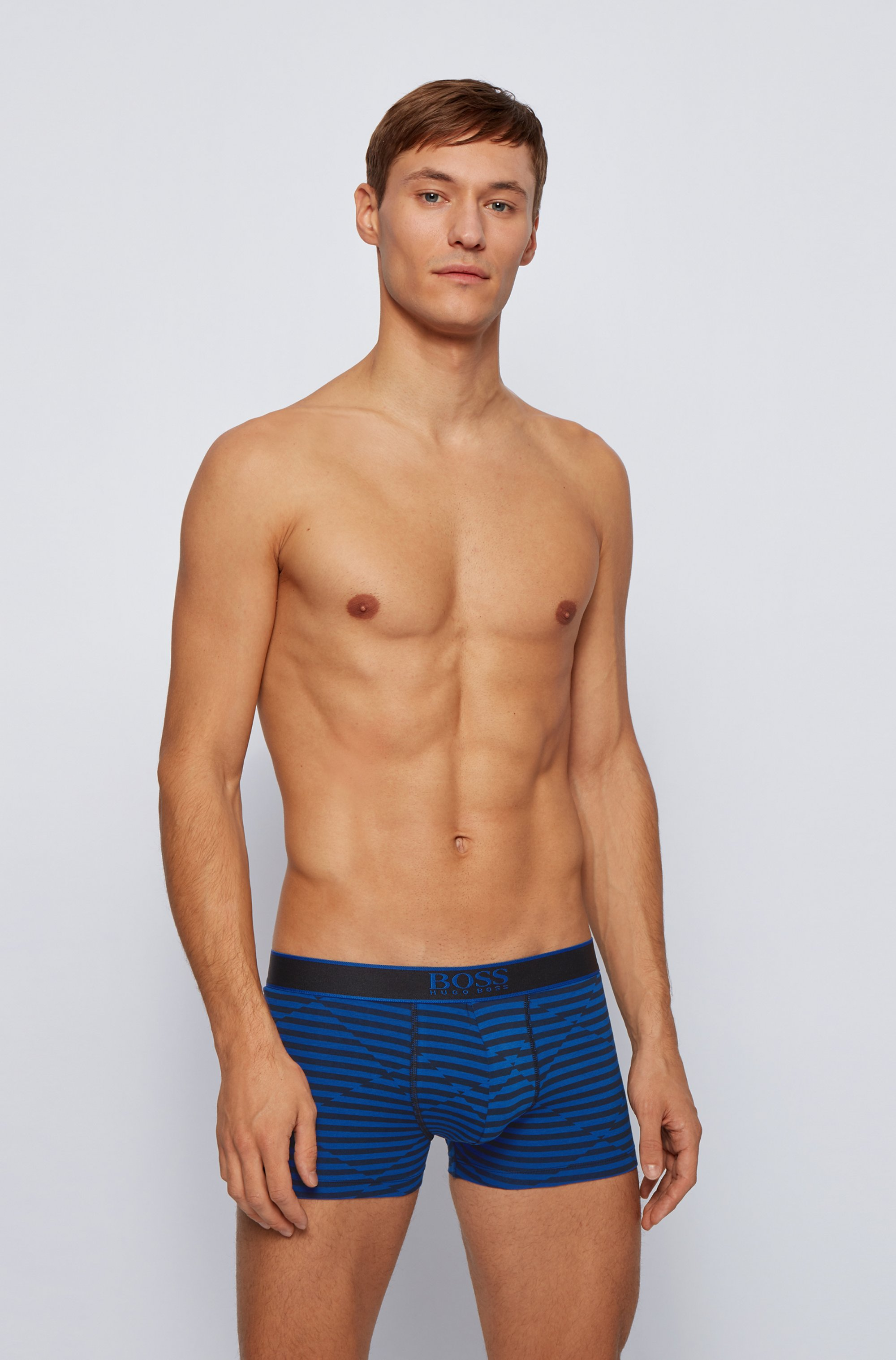 Stretch-cotton trunks with abstract stripe design