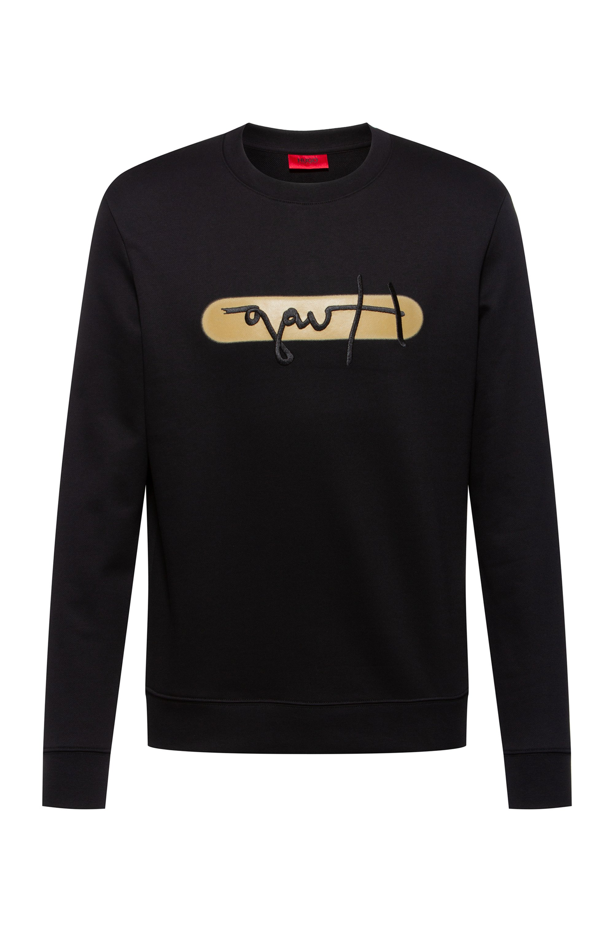 French-terry cotton sweatshirt with new-season logo embroidery, Black