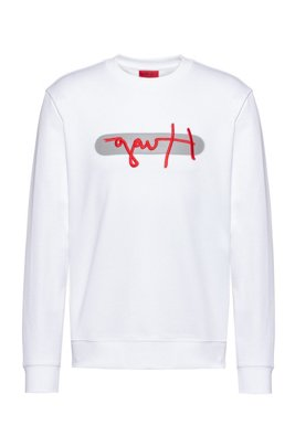 French-terry cotton sweatshirt with new-season logo embroidery, White