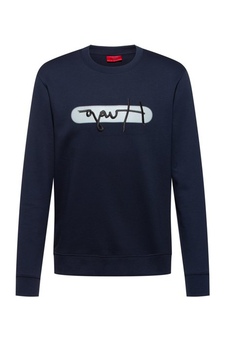 French-terry cotton sweatshirt with new-season logo embroidery, Dark Blue