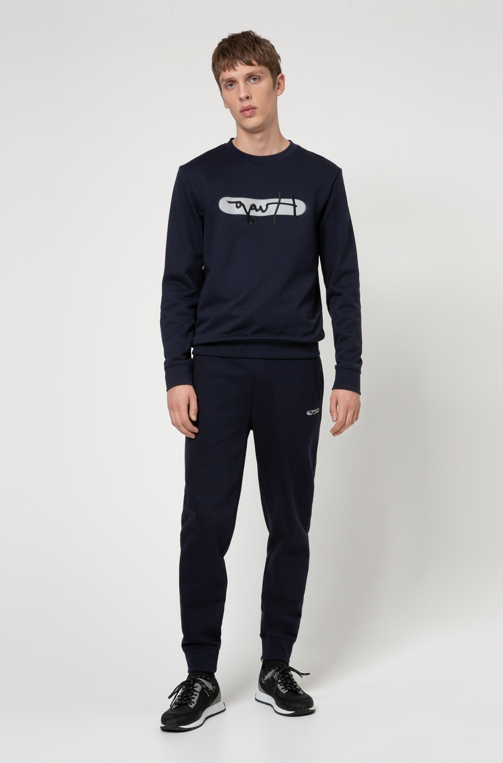 French-terry cotton sweatshirt with new-season logo embroidery