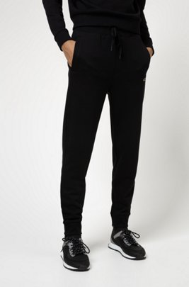 French terry jogging trousers with new-season logo embroidery, Black