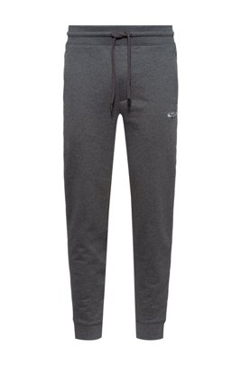 French terry jogging trousers with new-season logo embroidery, Dark Grey