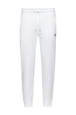 Pantalon de survêtement en molleton avec logo brodé de la nouvelle saison, Blanc