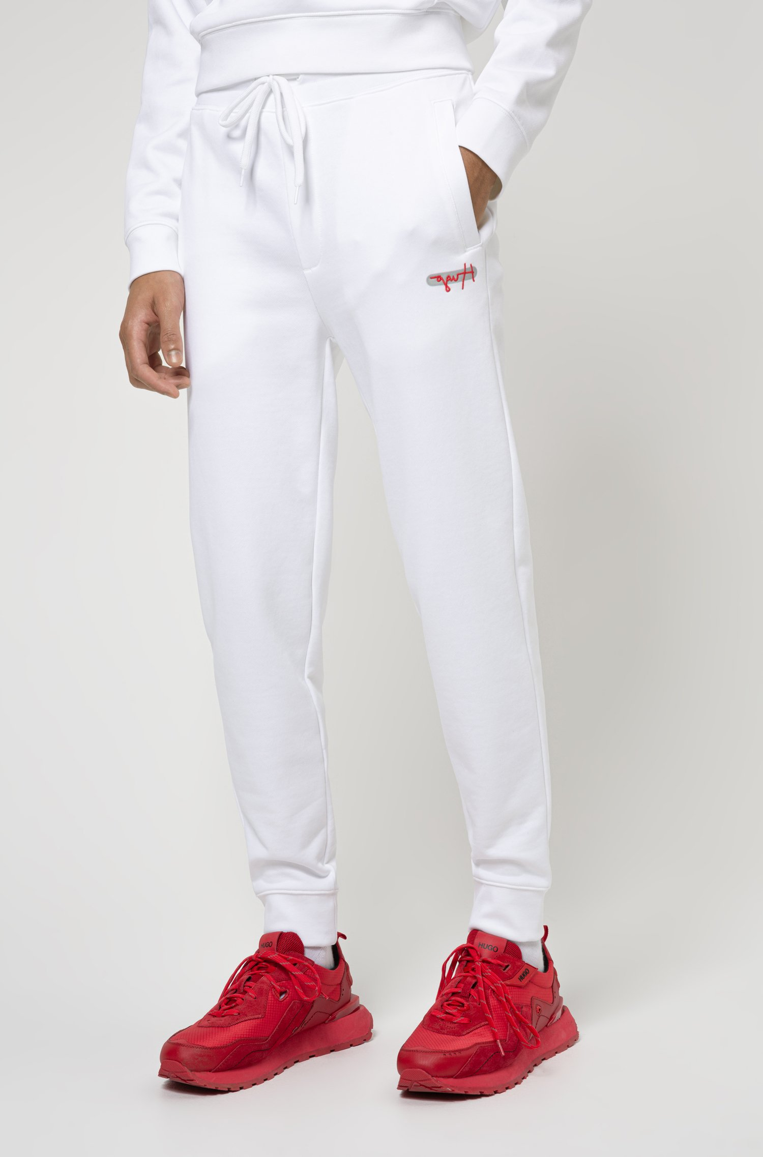 French terry jogging trousers with new-season logo embroidery, White