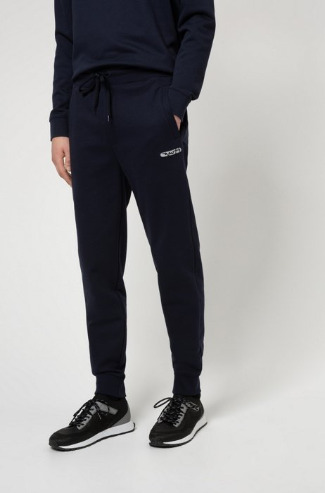 French terry jogging trousers with new-season logo embroidery, Dark Blue