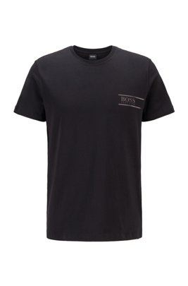 Cotton bodywear T-shirt with chest logo print, Black