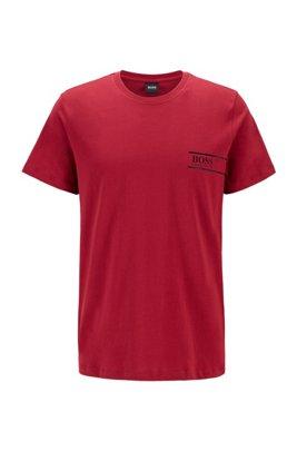 Cotton bodywear T-shirt with chest logo print, Dark Red