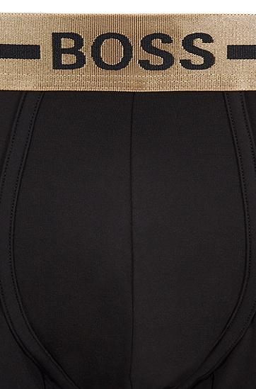 条纹徽标裤腰中腰短裤,  717_金黄色