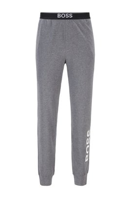 Pyjama trousers in stretch cotton with vertical logo, Grey