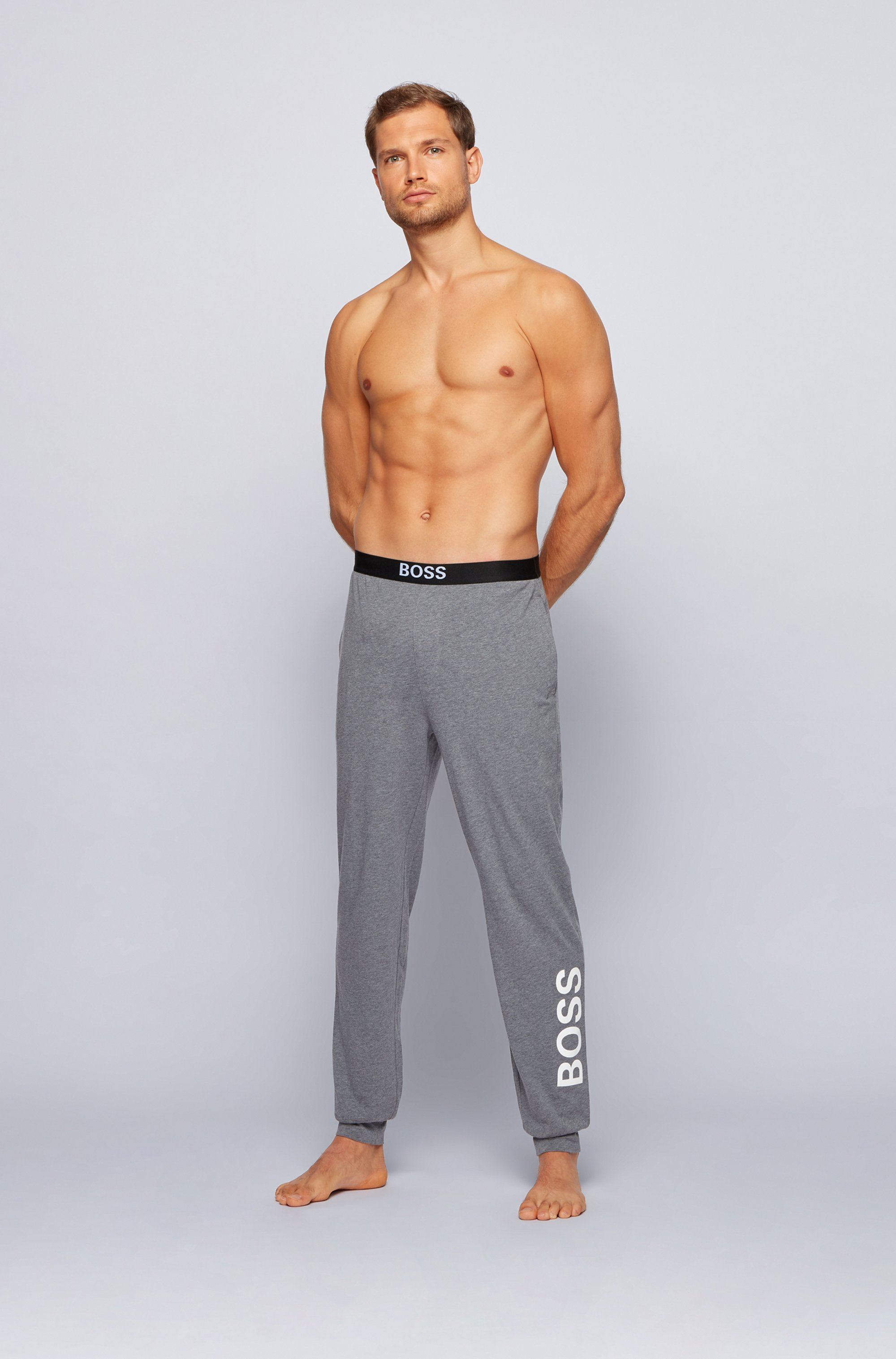 Pyjama trousers in stretch cotton with vertical logo