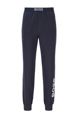 Pyjama trousers in stretch cotton with vertical logo, Dark Blue